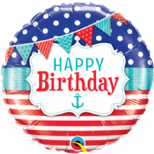 "Birthday Nautical Foil Balloon (18"") 1pc"